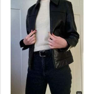Gap Black Glove Leather Bomber Jacket NWOT